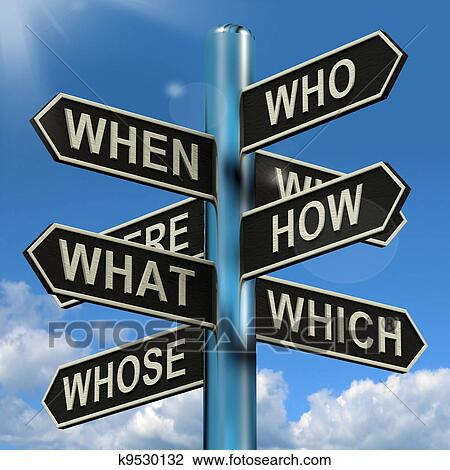 Clip Art of Who What Why When Where Signpost Shows ...