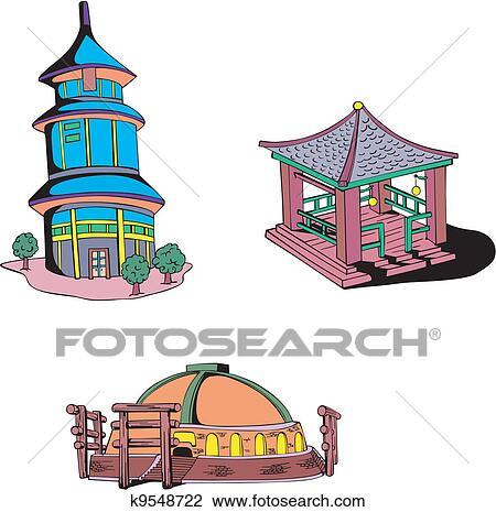 clipart asiático oriental templos k9548722 busca de