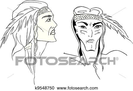 ff67f4f43cf9c Faces of American Indians Clipart | k9548750 | Fotosearch