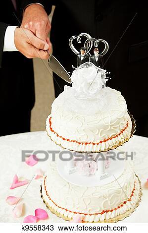 Schwule Hochzeit Schneiden Hochzeit Kuchen Stock Bild