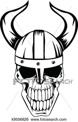 Clip Art Of Skull In Helmet Vikings 2 K9556826 Search Clipart