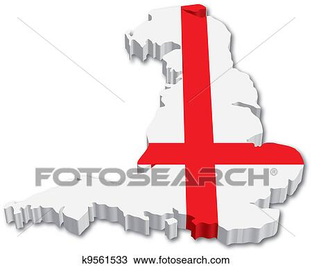 3d England Map With Flag Clipart K9561533