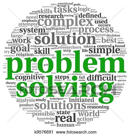 clipart of problem solving in word tag cloud on white k9576691