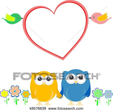 Clip Art Of Valentine Card With Bird Couple Owls And Heart K9576639