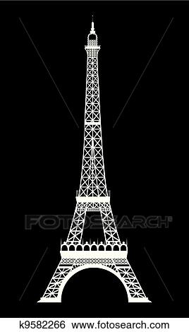 Clip Art Of Eiffel Tower K9582266 Search Clipart Illustration
