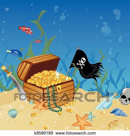 clip art of underwater treasure chest k9589189 search clipart