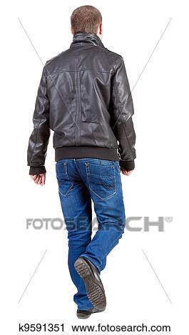 Stock Photography Of Back View Of Going Handsome Man In Jacket And