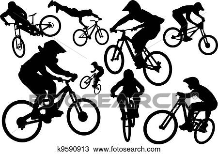 Clipart Of Cyclist Silhouettes K9590913