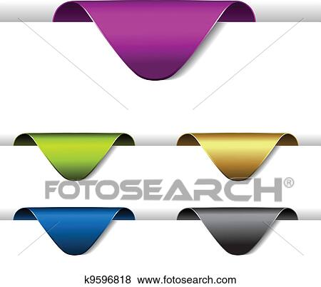 clip art of vector arrow paper labels stickers on the edge of the