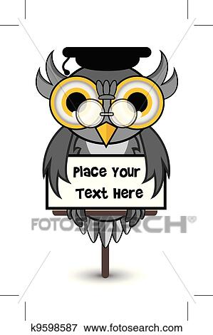Wise owl banner Clip Art | k9598587 | Fotosearch