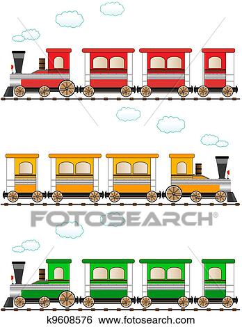 Banque d 39 illustrations ensemble dessin anim color train k9608576 recherche de clip arts - Train dessin anime chuggington ...
