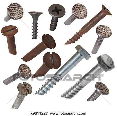 Old Metal Nail And Screw Head Isolated On White Background With Clipping Path