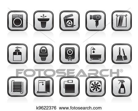 Clip Art - badezimmer, und, toilette, heiligenbilder k9622376 ...