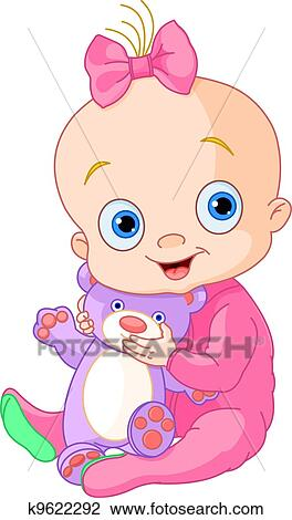 clipart of cute baby girl with teddy bear k9622292 search clip art rh fotosearch com cute clipart baby animals cute baby clipart black and white