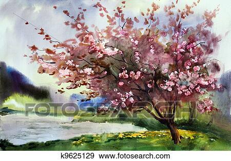 Tableau Aquarelle Paysage A Fleurir Printemps Arbre A Flowers Banque De Photo K9625129 Fotosearch