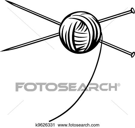 clipart of yarn ball with needles k9626331 search clip art