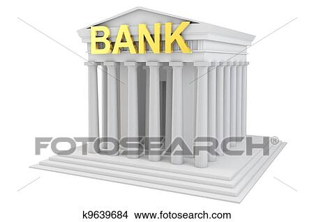 3d Bank Building With Golden Sign On White Background