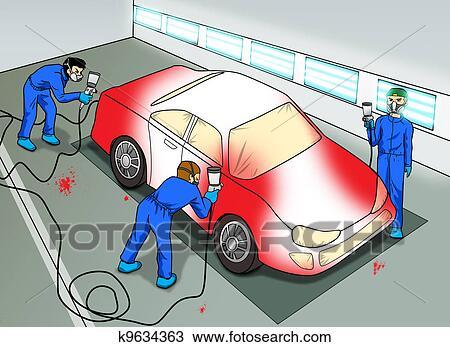 Automobile Peinture Magasin Dessin K9634363 Fotosearch