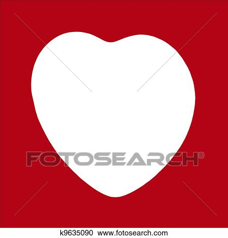 Stock Photography of Big Heart white Silhouette Frame k9635090 ...