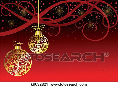 Christmas Ornaments Balls On Red Clipart