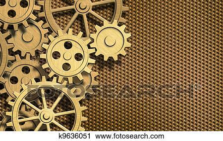clipart dor rouage horloge engrenages fond k9636051 recherchez des clip arts des. Black Bedroom Furniture Sets. Home Design Ideas