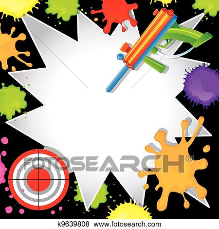 Clip art of paintball birthday invitation k9639808 search clipart super fun paintball birthday invitation with colorful paintball gun shooting at a bullseye target with cool comic book starbursts paint splatters stopboris Choice Image