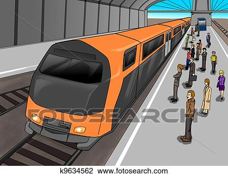 clip art of train station k9634562 search clipart illustration rh fotosearch com model train station clipart railway station clipart