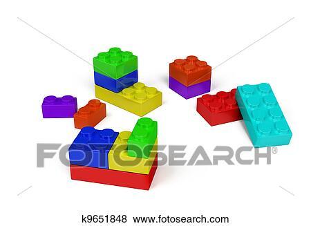 3d プラスチック おもちゃ ブロック イラスト K9651848 Fotosearch