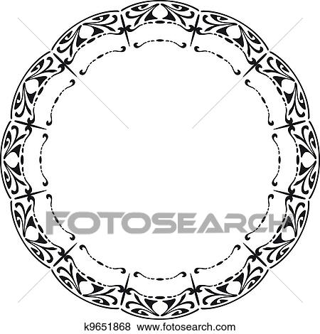 clip art of rounded frame in the style of art nouveau k9651868 rh fotosearch com art nouveau clip art free art nouveau clipart borders