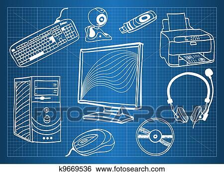 Clip art of blueprint of computer hardware peripheral devices clip art blueprint of computer hardware peripheral devices fotosearch search clipart malvernweather Images