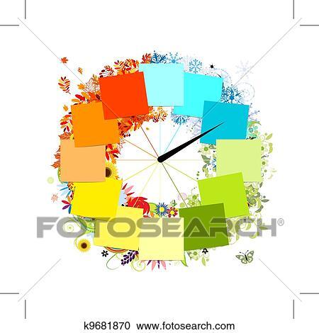 デザイン の Clock 4つの季節 Concept クリップアート切り張り