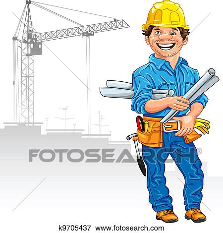 clip art of cheerful engineer in the yellow helmet with the drawing