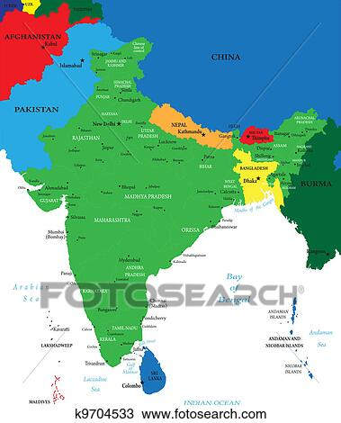 India political map Clipart   k9704533   Fotosearch on india river map, india education map, eurasia europe map, india outline map, india map legend, geography of india geographical map, india wall map, colombo india map, india population density map, india fiscal map, india world map, 2014 india map, india capital map, india city map, ancient india map, india domestic map, british colonial india map, india climate map, india resource map, india topographic map,
