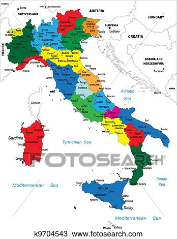 Large Detailed Map Of Italy.Political Map Of Italy Clipart