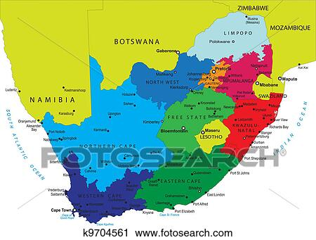 East Africa And Southern Africa Political Map.Political Map Of South Africa Clipart K9704561 Fotosearch