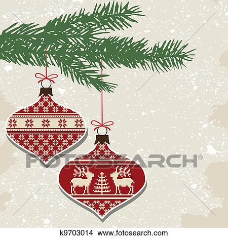 Retro Christmas Balls With Ornament Clipart