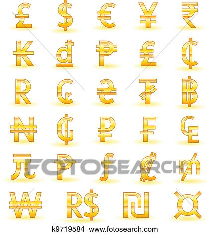 Clipart Of Golden Currency Symbols K9719584 Search Clip Art