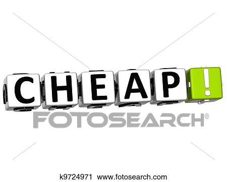3D Cheap Crossword On White Background