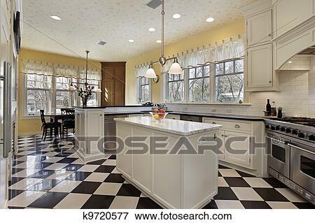 Fußboden Schwarz Weiß ~ Bild kueche mit schwarz weiß fussboden k suche