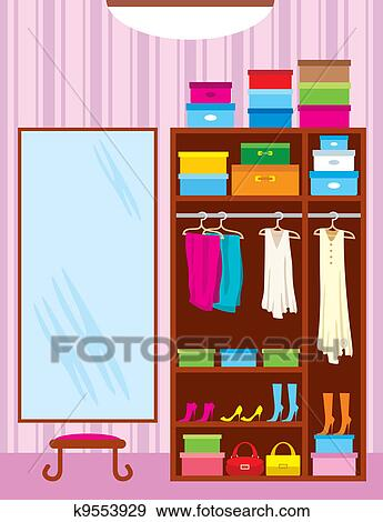 الخزانة Room الأثاث Clip Art K9553929 Fotosearch