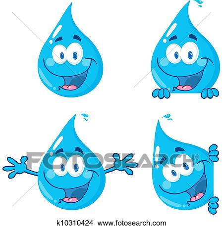الماء أزرق القطرات Clipart K10310424 Fotosearch