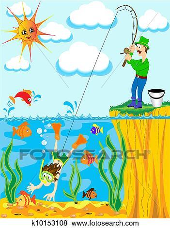 سفينة صيد زا ت ح ا Caughted عن صنارة الصيد سمك بسبب ال التعريف صائد اللؤلؤ Clip Art K10153108 Fotosearch