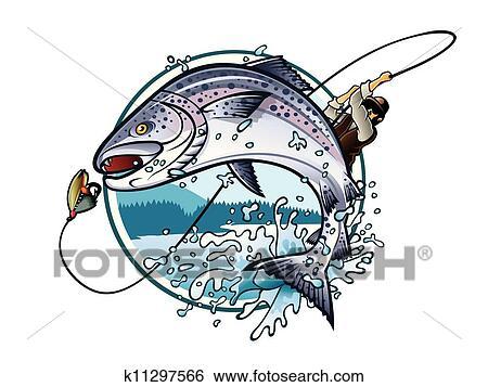 صيد السمك سمك السلمون Clip Art K11297566 Fotosearch