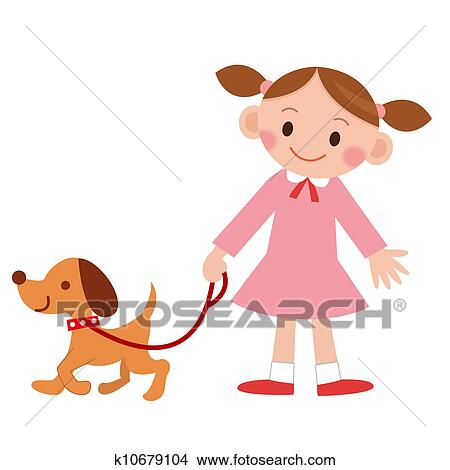 かわいい イラスト 女の子 で 犬 イラスト K10679104 Fotosearch
