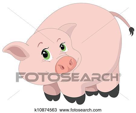 かわいい ピンクの豚 イラスト クリップアート切り張りイラスト