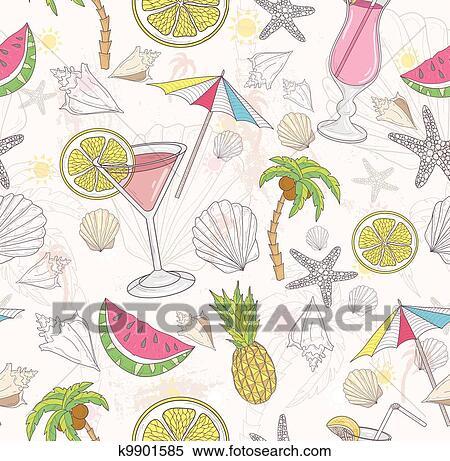 かわいい 夏 抽象的 Pattern クリップアート切り張りイラスト