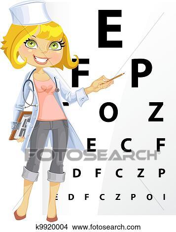 かわいい 女性の医者 眼科医 クリップアート 切り張り イラスト 絵画 集 K Fotosearch