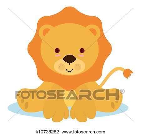かわいい 赤ん坊の ライオン クリップアート切り張りイラスト絵画