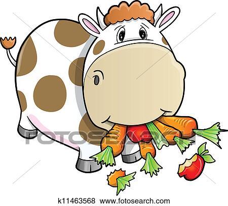 かわいい 農場 牛 食べること 野菜 クリップアート K11463568