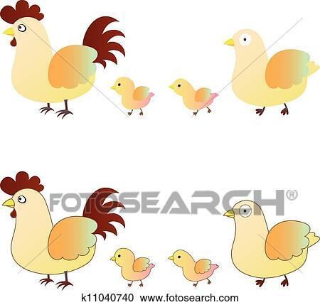 かわいい 鶏 家族 クリップアート切り張りイラスト絵画集